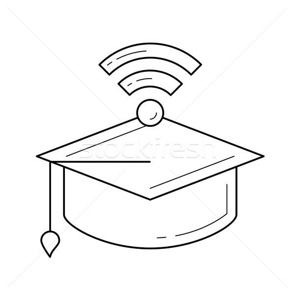 Afstuderen cap netwerk wifi teken lijn Stockfoto © RAStudio