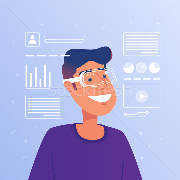 Stock photo: Happy caucasian white man in augmented reality glasses operating hud virtual interface.