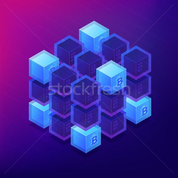 Isometric blockchain cryptocurrency networking concept. Stock photo © RAStudio