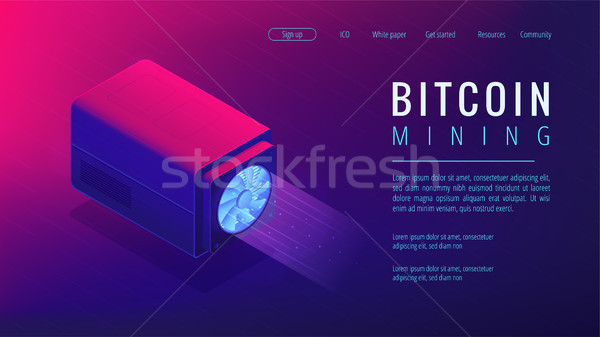 Isometric bitcoin mining landing page concept. Stock photo © RAStudio