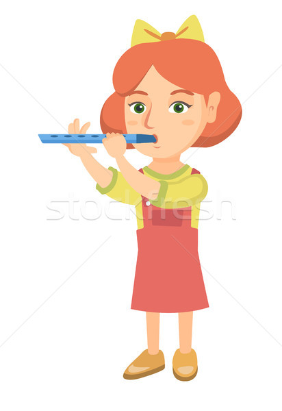 Caucasian little girl playing the flute. Stock photo © RAStudio