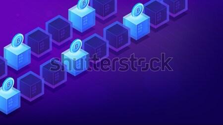 Isometric blockchain etherium cryptocurrency concept. Stock photo © RAStudio