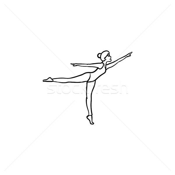 Woman dancing hand drawn outline doodle icon. Stock photo © RAStudio