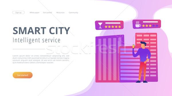Intelligent diensten smart stad mensen cafe Stockfoto © RAStudio