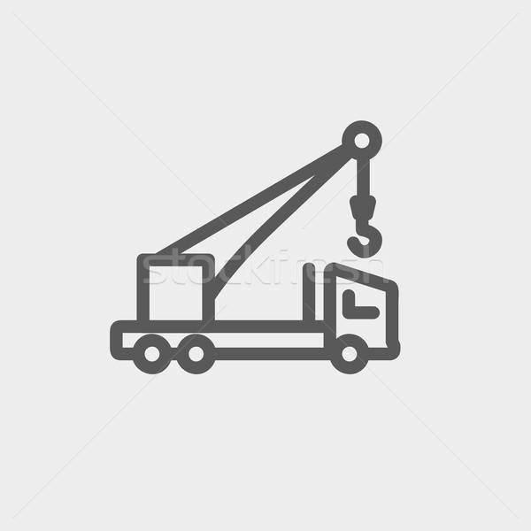 Zdjęcia stock: Ciężarówka · cienki · line · ikona · internetowych · komórkowych