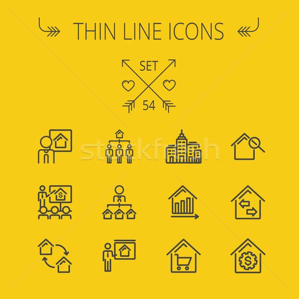 Real Estate thin line icon set Stock photo © RAStudio