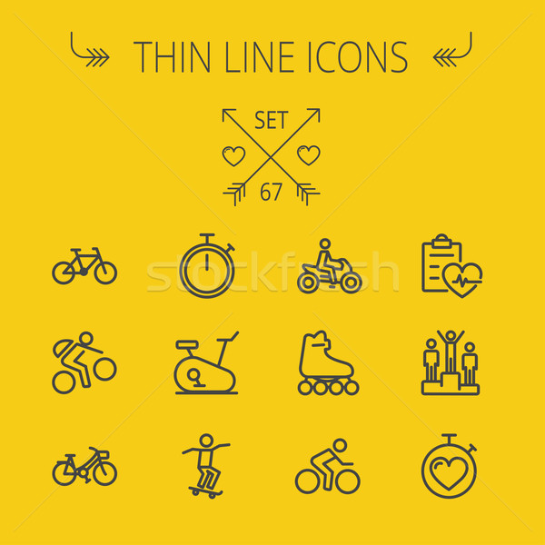 Sports thin line icon set Stock photo © RAStudio