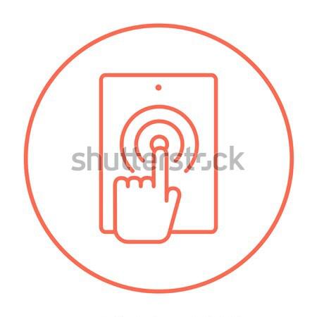 Touch мобильного телефона тонкий линия икона Сток-фото © RAStudio
