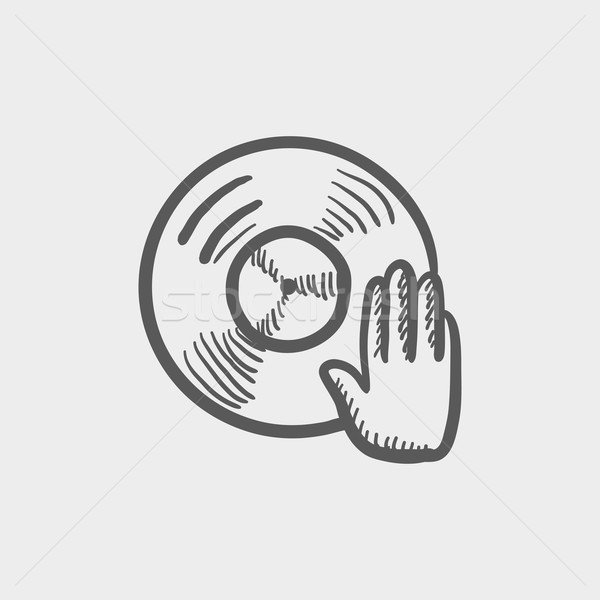 Vinyl disc with dj hand sketch icon Stock photo © RAStudio