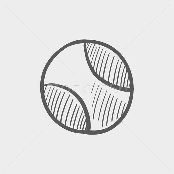 Tennisbal schets icon web mobiele Stockfoto © RAStudio