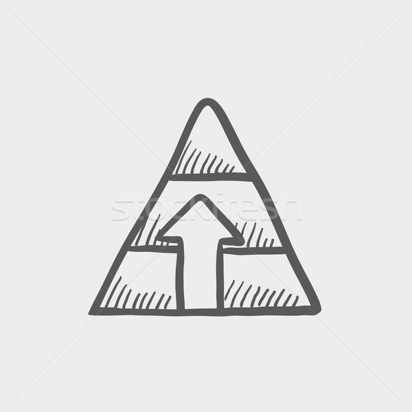 Pyramid with arrow up sketch icon Stock photo © RAStudio