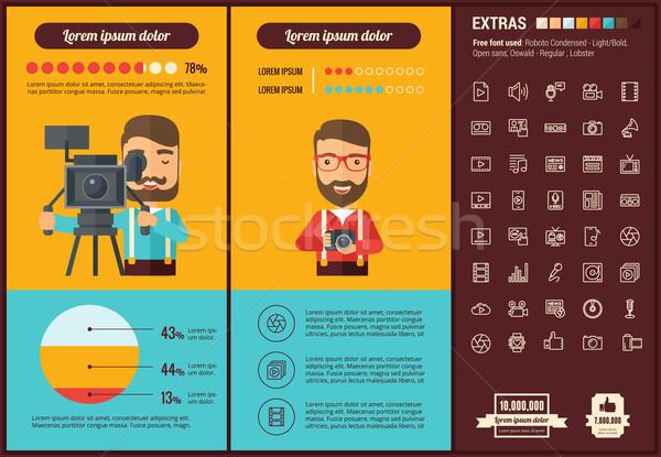 ストックフォト: メディア · デザイン · インフォグラフィック · テンプレート · 要素 · イラスト