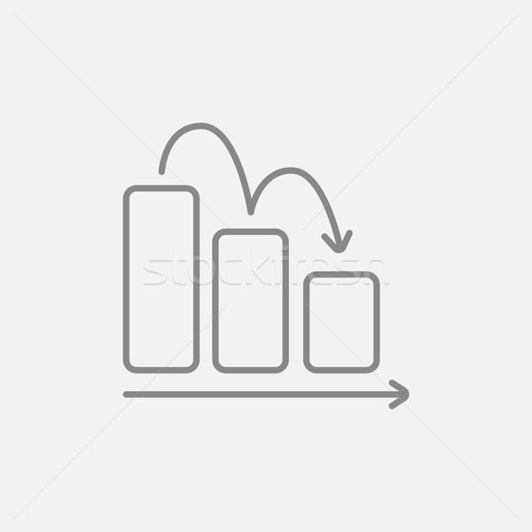 Graphique à barres vers le bas ligne icône web mobiles Photo stock © RAStudio