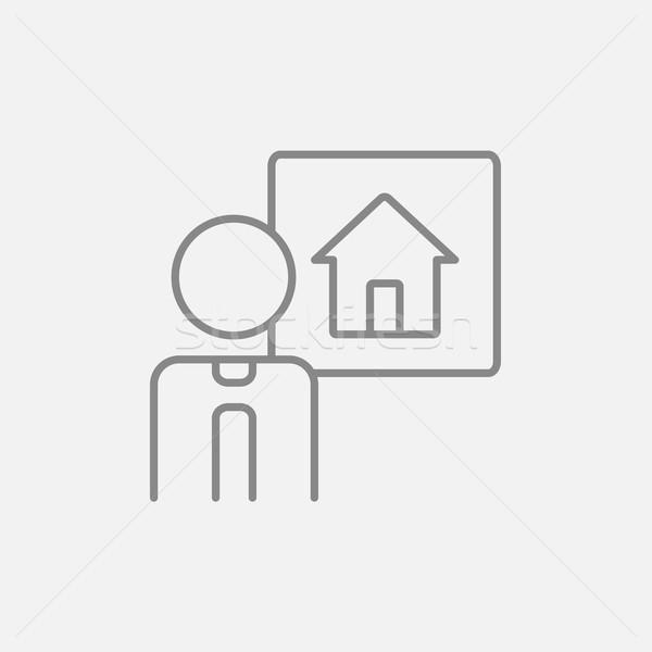 Agent immobilier ligne icône web mobiles infographie Photo stock © RAStudio