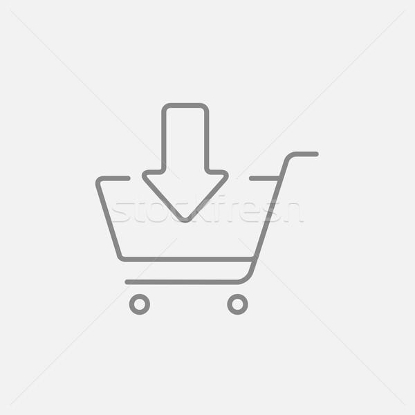 Online vásárlás kosár vonal ikon bevásárlókocsi lefelé Stock fotó © RAStudio
