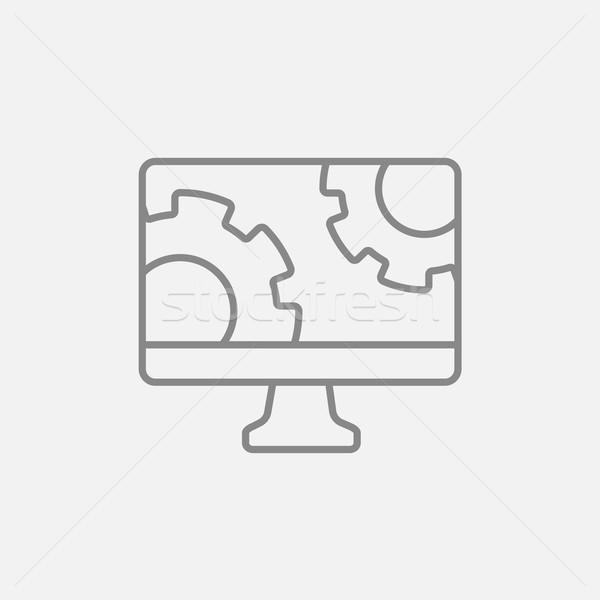 Bilgisayar monitörü dişliler hat ikon web hareketli Stok fotoğraf © RAStudio