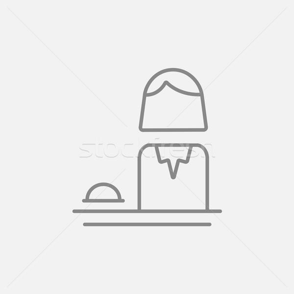 Feminino recepcionista linha ícone teia móvel Foto stock © RAStudio