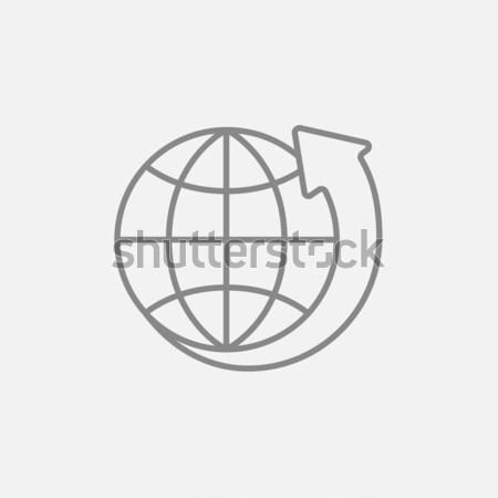 ストックフォト: 地球 · 矢印 · 周りに · 行 · アイコン · ウェブ