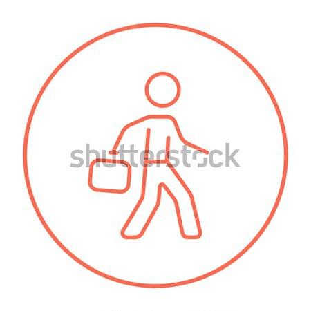 Voetballer bal lijn icon web mobiele Stockfoto © RAStudio