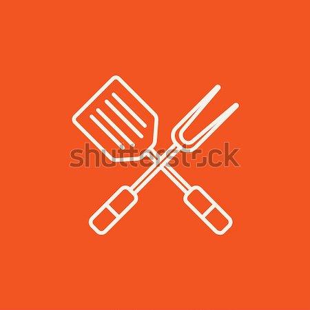 Kitchen spatula and big fork line icon. Stock photo © RAStudio