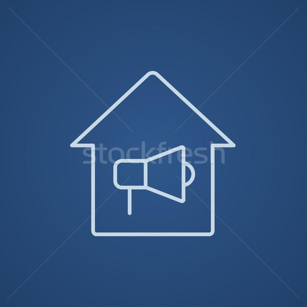 Ház tűzjelző vonal ikon háló mobil Stock fotó © RAStudio
