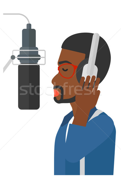 Zanger record hoofdtelefoon studio stem Stockfoto © RAStudio