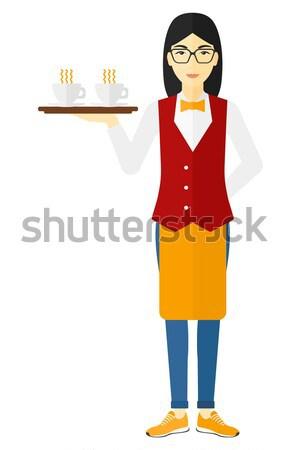 Kellnerin wie asian tragen Fach Vektor Stock foto © RAStudio