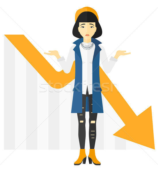 Woman with declining chart. Stock photo © RAStudio