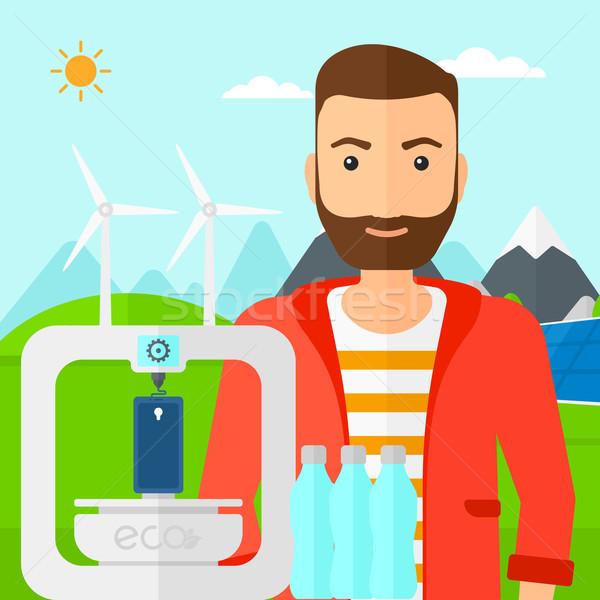 Homem três impressora barba em pé Foto stock © RAStudio