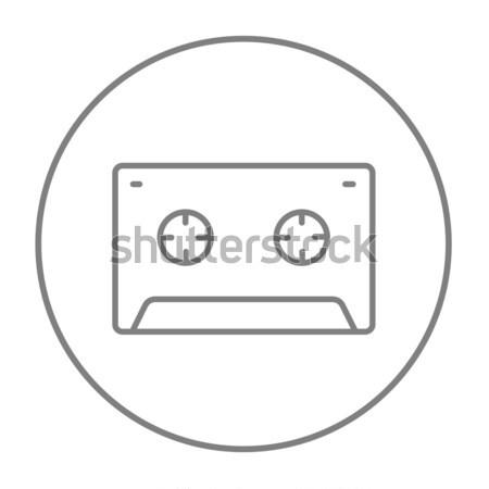 Kazetta szalag vonal ikon háló mobil Stock fotó © RAStudio