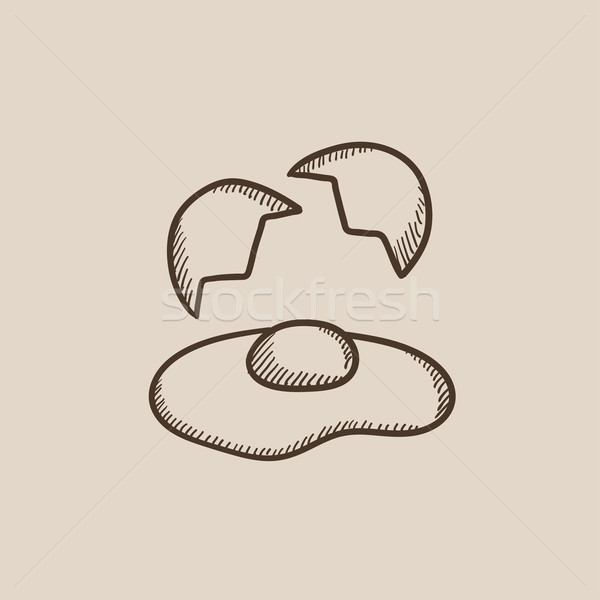 ストックフォト: 壊れた · 卵 · シェル · スケッチ · アイコン · ウェブ