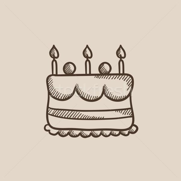 именинный торт свечей эскиз икона веб мобильных Сток-фото © RAStudio