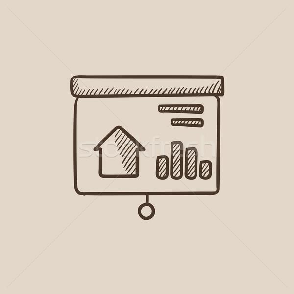 Bemutató projektor képernyő rajz ikon háló Stock fotó © RAStudio