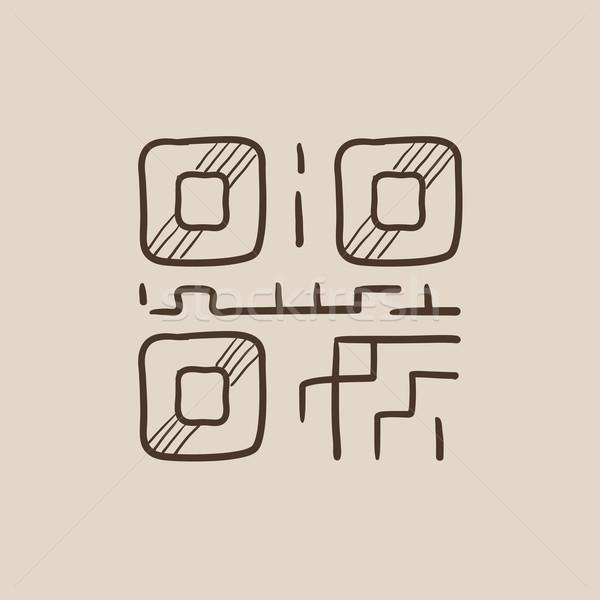 Qr code szkic ikona internetowych komórkowych infografiki Zdjęcia stock © RAStudio