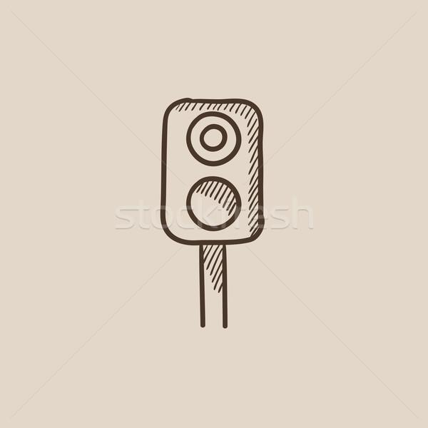 железная дорога светофора эскиз икона веб мобильных Сток-фото © RAStudio