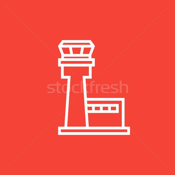 Volo controllo torre line icona angoli Foto d'archivio © RAStudio