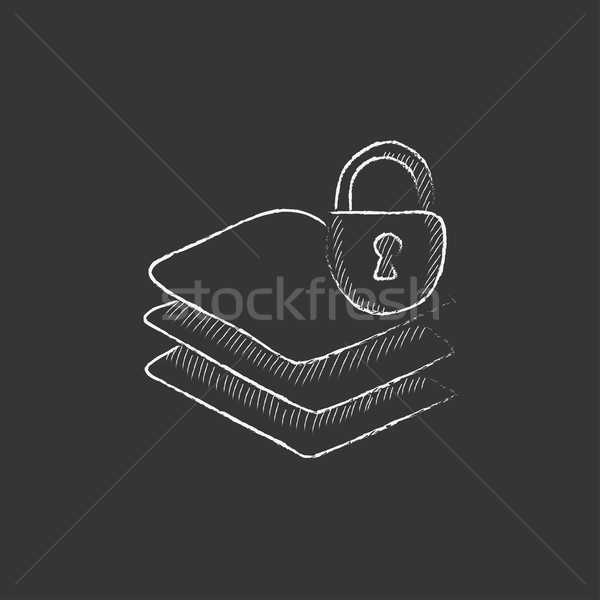 Stack of papers with lock. Drawn in chalk icon. Stock photo © RAStudio