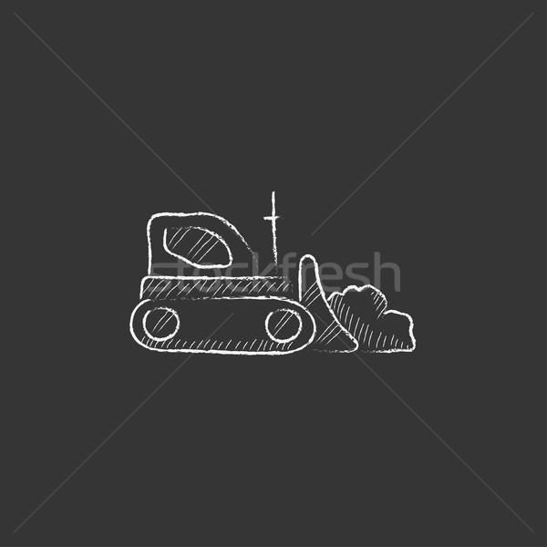 Escavadeira giz ícone vetor Foto stock © RAStudio