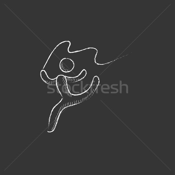 гимнаст лента мелом икона рисованной Сток-фото © RAStudio