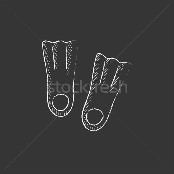 Flippers. Drawn in chalk icon. Stock photo © RAStudio