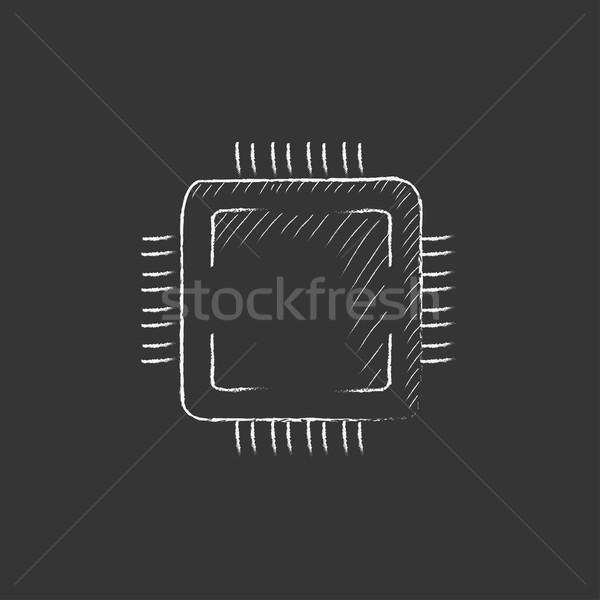 CPU tiza icono dibujado a mano vector Foto stock © RAStudio