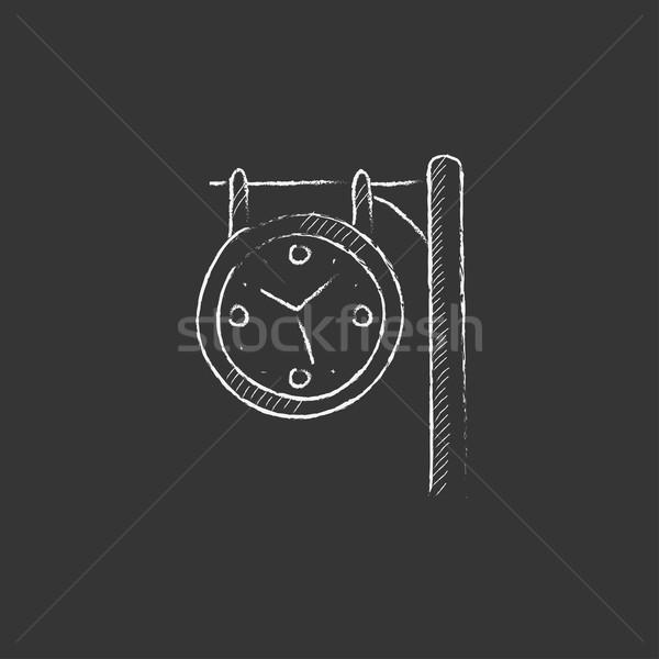 Vasútállomás óra rajzolt kréta ikon óramutató Stock fotó © RAStudio