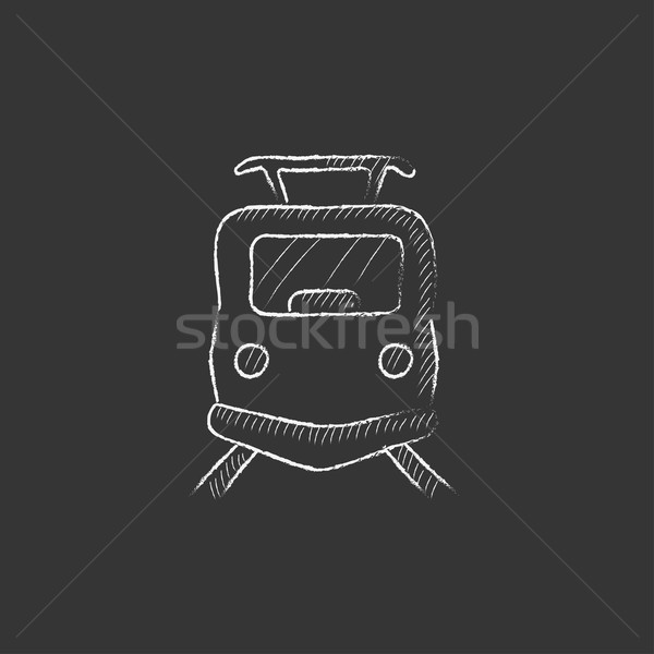 Front view of train. Drawn in chalk icon. Stock photo © RAStudio
