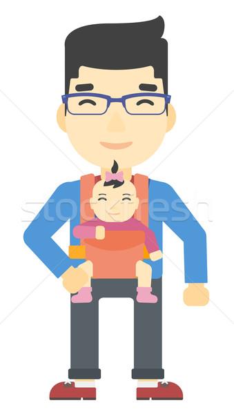 Férfi tart baba csúzli ázsiai hordoz Stock fotó © RAStudio