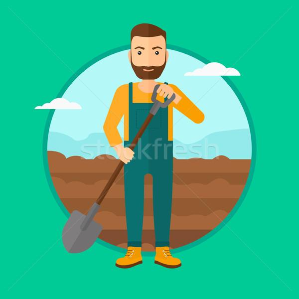 Jeans campo pá homem barba Foto stock © RAStudio