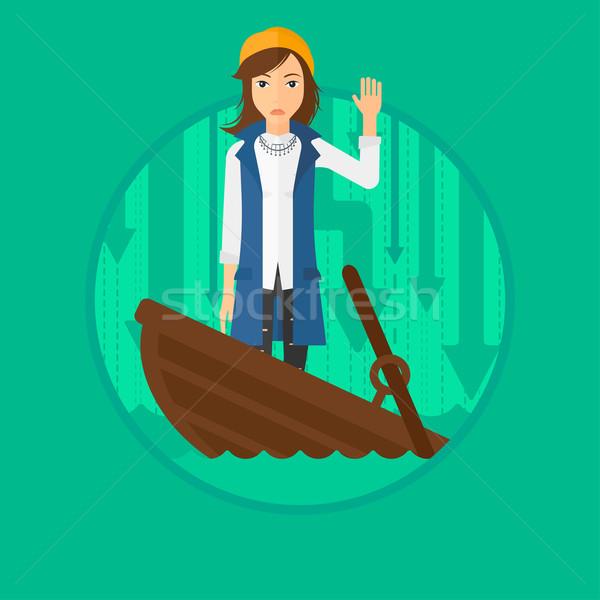 Zakenvrouw permanente zinken boot bang vragen Stockfoto © RAStudio
