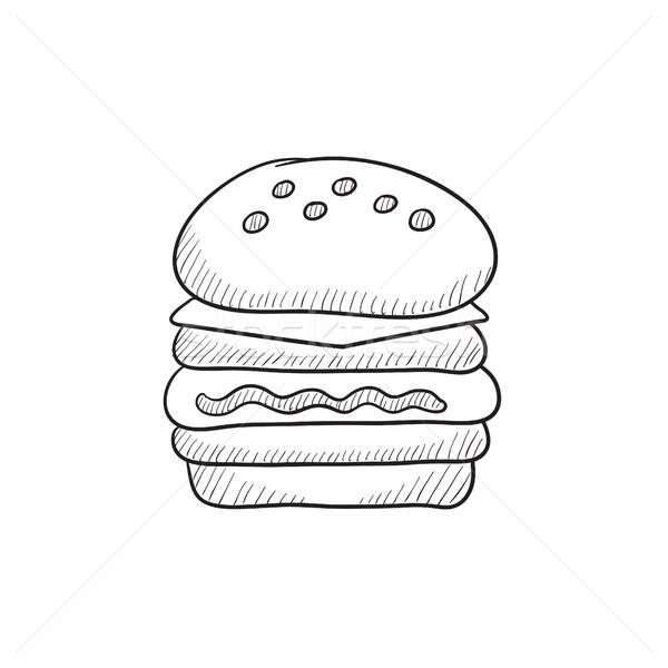 Double burger sketch icon. Stock photo © RAStudio