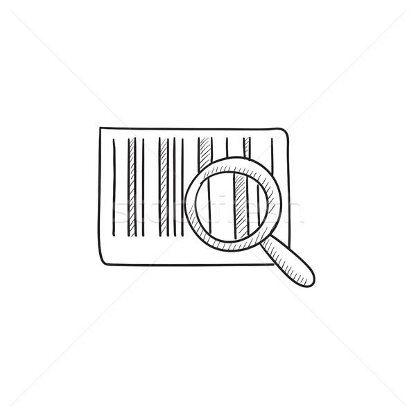 Loupe Barcode croquis icône vecteur isolé Photo stock © RAStudio