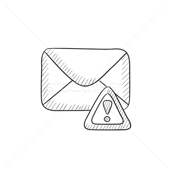 Kopercie mail ostrzeżenie sygnał szkic ikona Zdjęcia stock © RAStudio