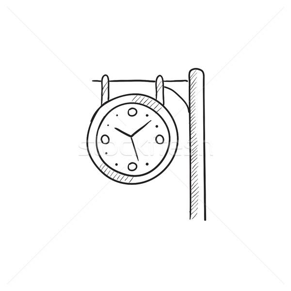Foto d'archivio: Stazione · ferroviaria · clock · sketch · icona · vettore · isolato